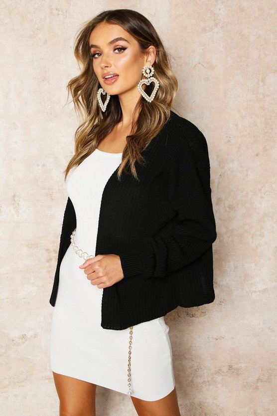 Black Oversized Rib Cropped Cardigan