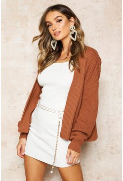 Womens Toffee Oversized Rib Cropped Cardigan