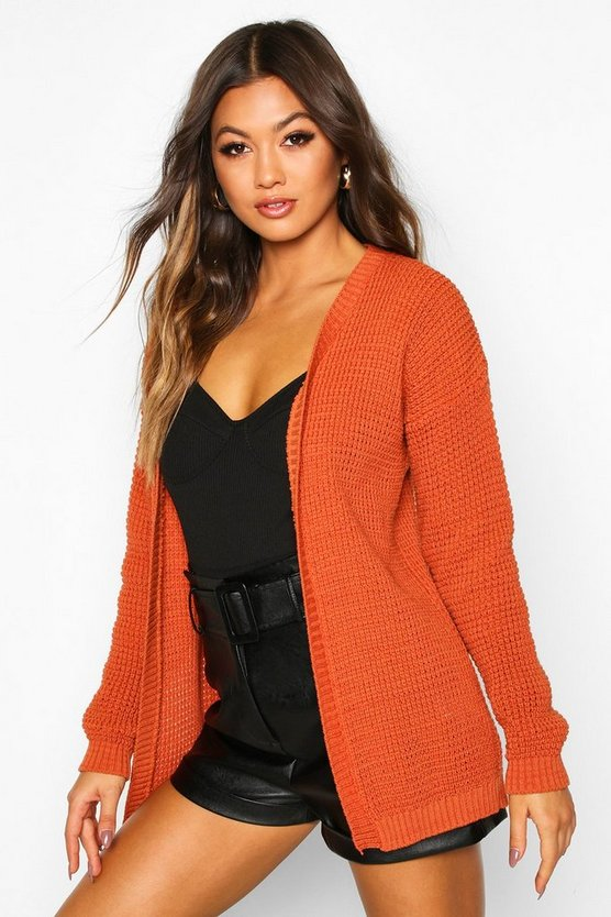 Womens Toffee Edge To Edge Waffle Knit Cardigan