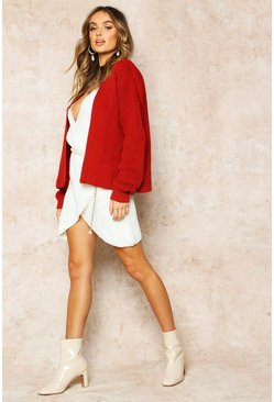 Brick red Oversized Rib Cropped Cardigan