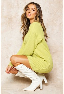 Womens Soft lime Crew Neck Jumper Dress