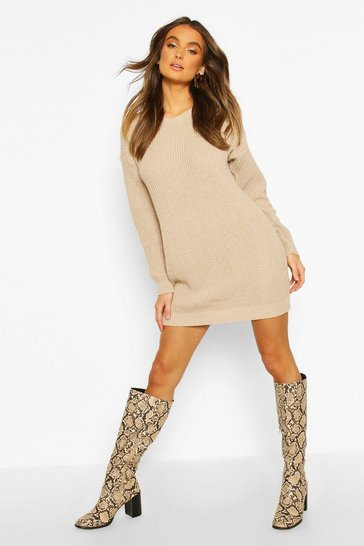 Womens Stone Crew Neck Jumper Dress