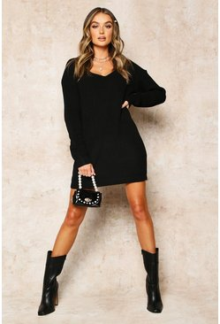 Black V Neck Jumper Mini Dress