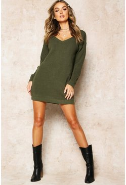 Womens Olive V Neck Jumper Mini Dress