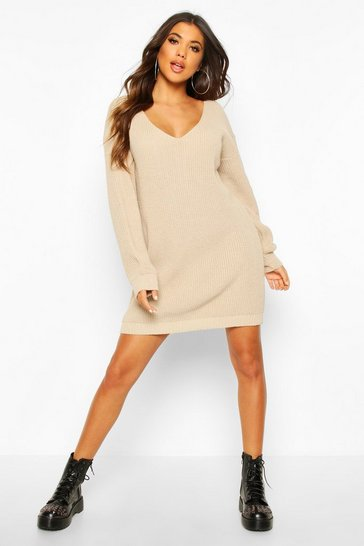 Womens Stone V Neck Jumper Mini Dress