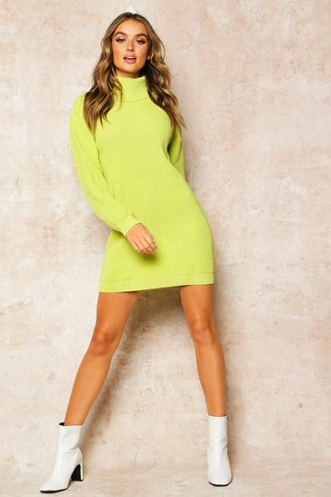 Womens Lime Roll Neck Jumper Dress