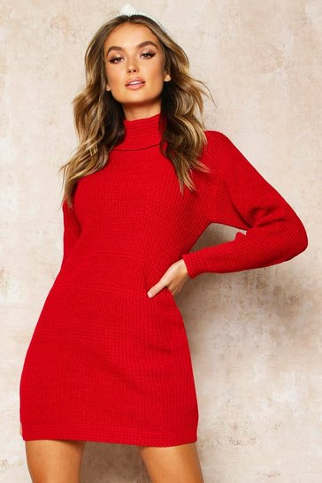 Red Roll Neck Jumper Dress