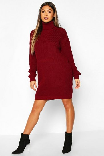 Womens Wine Roll Neck Jumper Dress