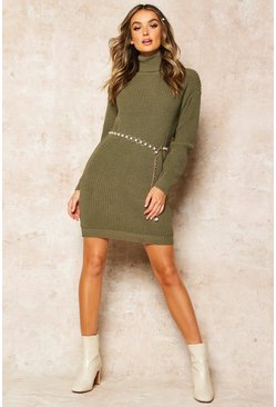 Olive Roll Neck Jumper Dress