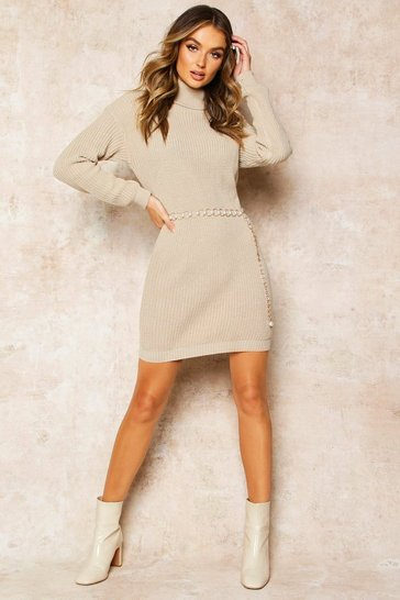 Stone Roll Neck Jumper Dress
