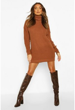 Toffee Roll Neck Jumper Dress