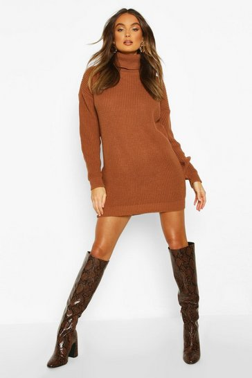 Womens Toffee Roll Neck Jumper Dress