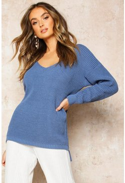 Slate blue Oversized V Neck Jumper