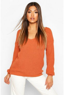 Womens Toffee Oversized V Neck Jumper