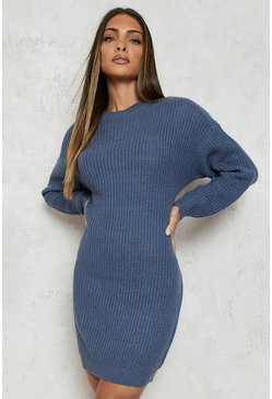 Slate blue Crew Neck Jumper Dress