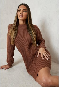 Toffee Crew Neck Jumper Dress
