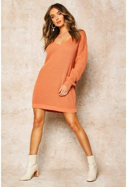 Womens Apricot V Neck Jumper Mini Dress