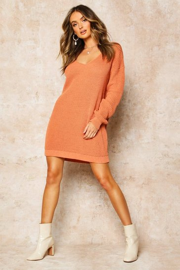 Apricot V Neck Jumper Mini Dress