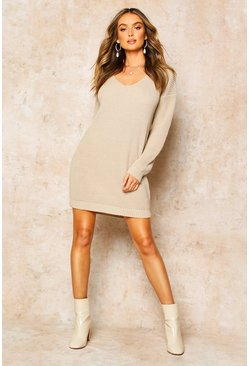 Stone V Neck Jumper Mini Dress