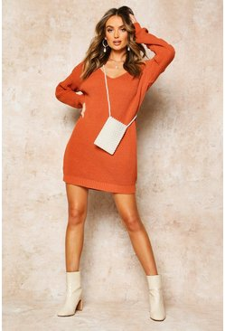 Womens Toffee V Neck Jumper Mini Dress