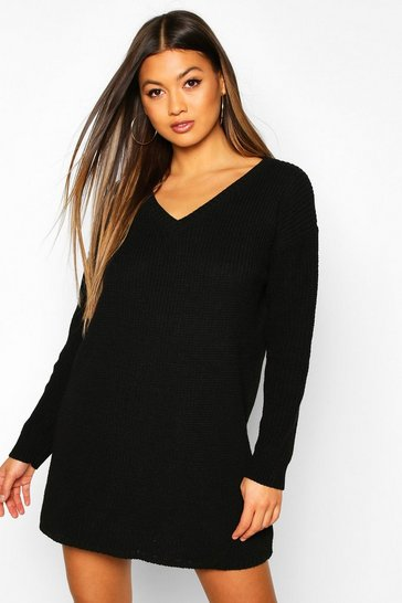 Black Rib V-Neck Jumper Dress