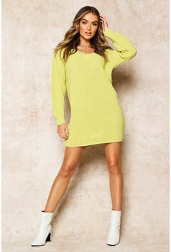 Womens Soft lime Rib V-Neck Jumper Dress
