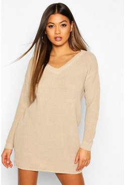 Stone Rib V-Neck Sweater Dress