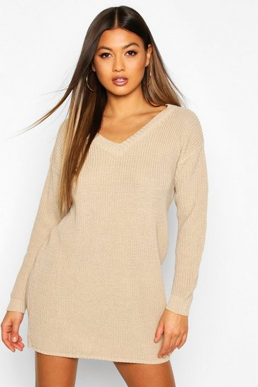 Womens Stone Rib V-Neck Jumper Dress
