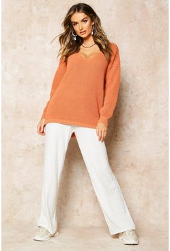 Apricot Oversized V Neck Jumper