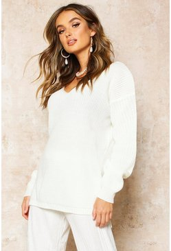 Ecru Oversized V Neck Jumper