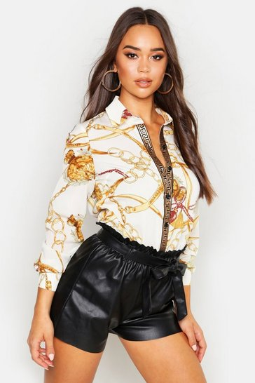 Womens White Chain Print Shirt