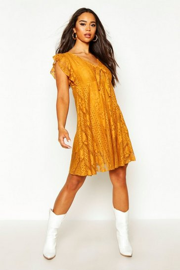Womens Mustard Tie Front Skater Dress