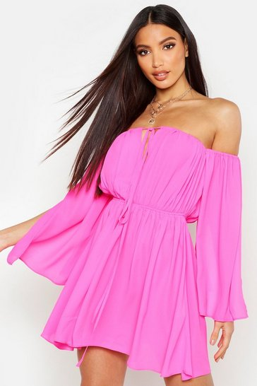 Womens Hot pink Off The Shoulder Flare Sleeve Dress