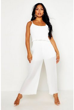 Womens Ivory Pleated Double Layer Cami Jumpsuit