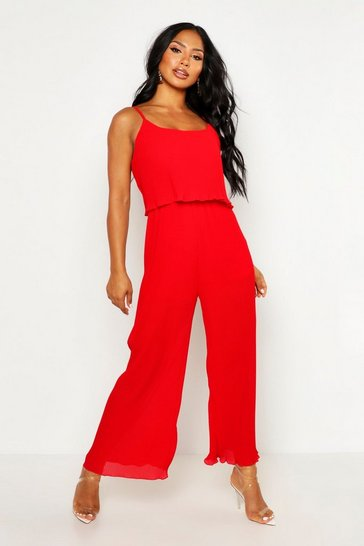 Womens Red Pleated Double Layer Cami Jumpsuit