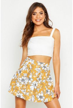 Womens Mustard Box Pleat Large Floral Skater Skirt