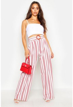 Womens Terracotta Tonal Stripe Wide Leg Belted Trousers