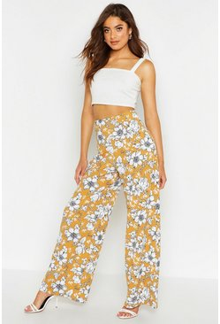Womens Mustard Large Floral Belted Wide Leg Trousers
