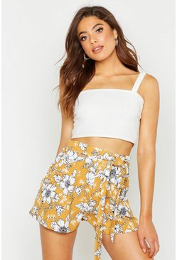 Womens Mustard Large Floral Tie Waist Tailored Shorts