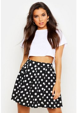 Polka Dot Box Pleat Skater Skirt, Black, Donna