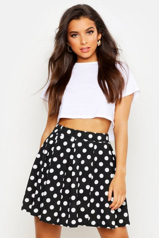 Womens Black Polka Dot Box Pleat Skater Skirt