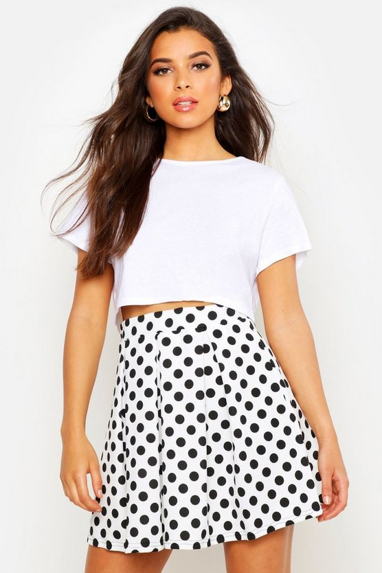 Womens Ivory Polka Dot Box Pleat Skater Skirt