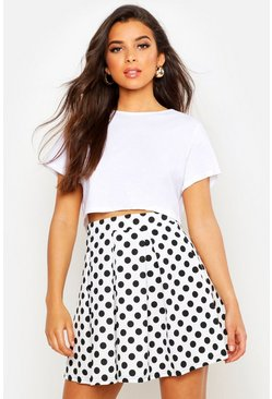 Ivory Polka Dot Box Pleat Skater Skirt