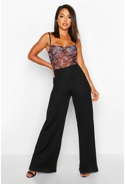 Black Floral Mesh Cupped Jumpsuit