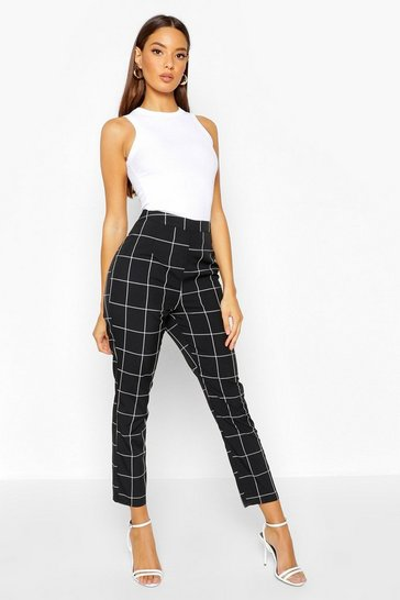 Womens Black Grid Check Tapered Trouser