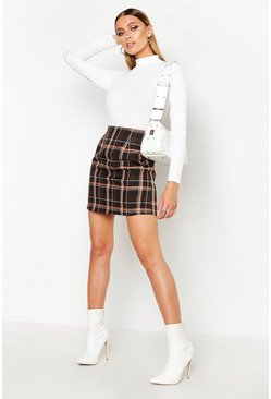 Womens Chocolate Check A-Line Woven Mini Skirt