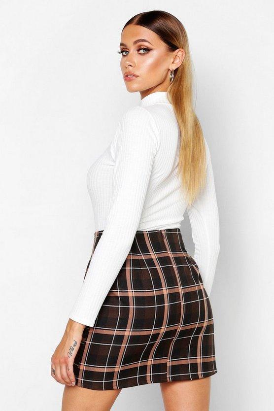 Check A-Line Woven Mini Skirt