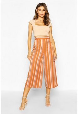 Womens Rust Striped Wide Leg Woven Culottes