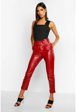 Berry Leather Look Belted Tapered Trouser