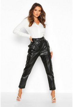 Womens Black Leather Look Belted Tapered Trouser